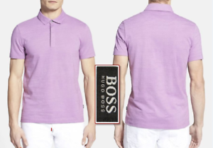 HUGO BOSS  Vito  Regular Fit Pima Cotton Textured Polo Shirts Lavender NEW NWT