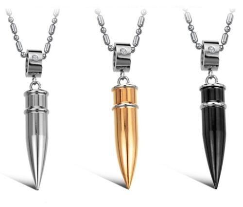 Kette mit Anhänger Patrone Bullet Zirkonia Edelstahl 316 neu silber gold schwarz