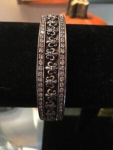 Image Is Loading Chrome Hearts Sterling Silver And Diamond Hinged Bangle