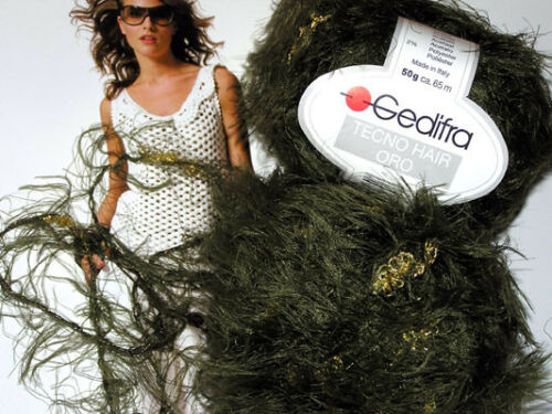 600g GEDIFRA Schachenmayr Tecno Hair Lungo Oro Oliv Grün Gold Effekt Pelz Wolle