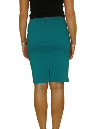 Ladies Stretch Bodycon Pencil Skirt Above Knee Smart Casual Teal Green  NEW 6-18