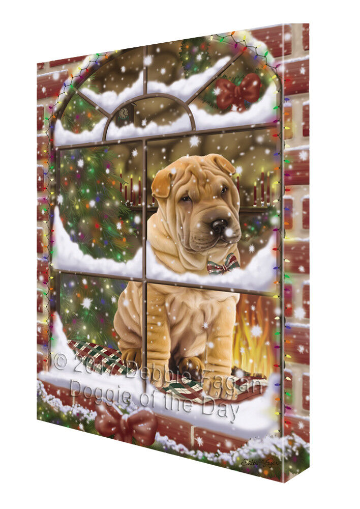 Please Come Home For Christmas Shar Pei Dog Sitting In Window Canvas Wall Art