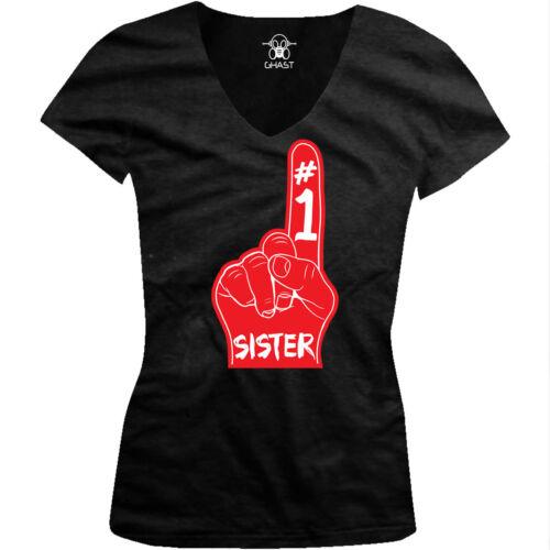 #1 Sister Foam Finger Sibling Favorite Sis Love Funny Juniors V-neck T-shirt