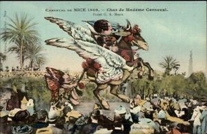 Nice-France-Carnaval-1909-Elaborate-Parade-Float-Artist-Drawn-Postcard-3