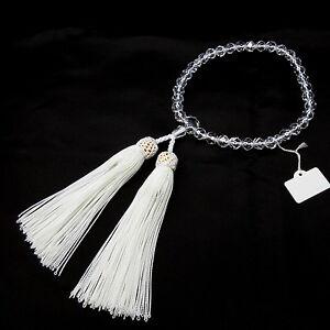 Cut Crystal Quartz with White tassel Japanese Juzu Buddhist Prayer beads Kyoto