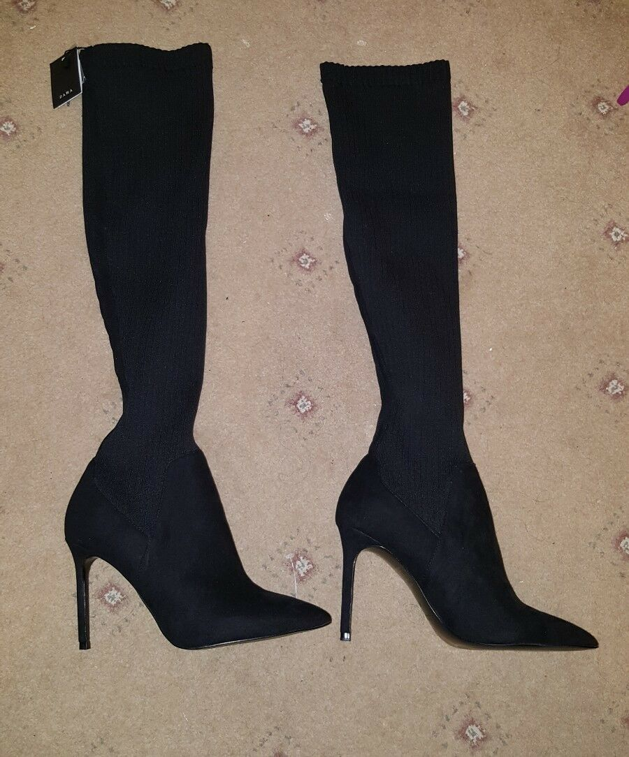 BNWT ZARA SOCK STYLE ELASTIC BLACK OVER Stiefel THE KNEE Schuhe HEELS Stiefel OVER SIZE 7 390085