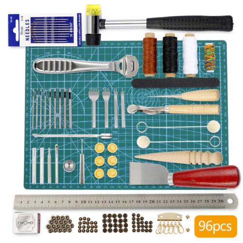 96 tlg Leder Werkzeug Craft Nähen Bohren Hand Sewing Stitching Groover Set