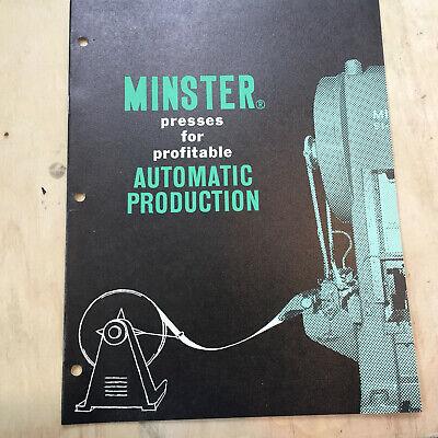 Vtg Minster Machine Co Catalog Presses Automatic Production Brochure EBay