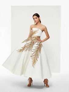 Details About Nwt Oscar De La A White And Gold Embroidered Evening Gown Us4 14 690