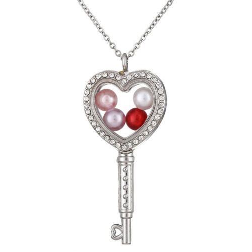 Silver Floating Glass Locket Heart Key With Rhinestone Pendant Necklace K1400