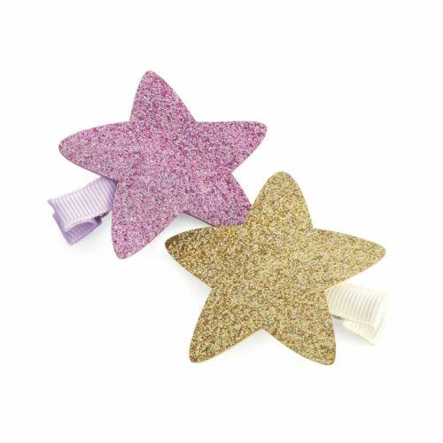 New Pack of 2 Gold /& Pink Glitter Star Hair Beak Clip Grip/'s HA31567 5.5cm