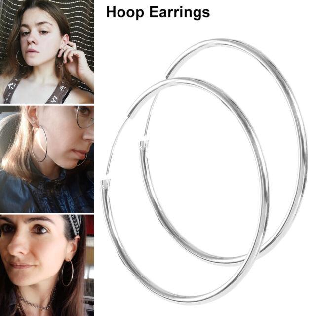 """50mm Hoop Earrings Sterling Silver Plated Austrian Crystal Big Round Circle 2/"""""""