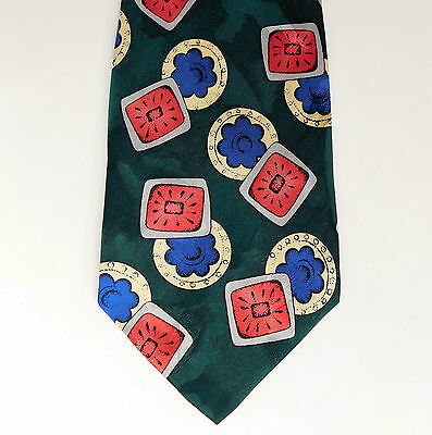 Brightly coloured silk tie floral pattern Flower and fruit motifs pure silk