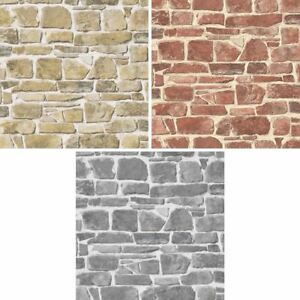 New rasch brick wall pattern faux effect realistic mural for Carta da parati effetto muro mattoni