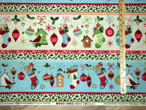 Home for the Holidays Sampler Benartex Christmas Fabric by the 1//2 Yard  #3262