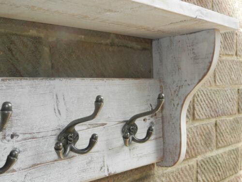 Reclaimed wood Hat and Coat Rack with shelf Rustic Shabby White wash 3-8 hooks