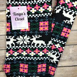 53ba3174c10fd5 Image is loading Kids-Girls-Toddler-Leggings-Multi-Color-Reindeer-Flower-