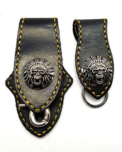 Biker-Skull-Indian-Trucker-Gold-Stitch-Leather-Belt-Clip-Key-chain-Holder-Set