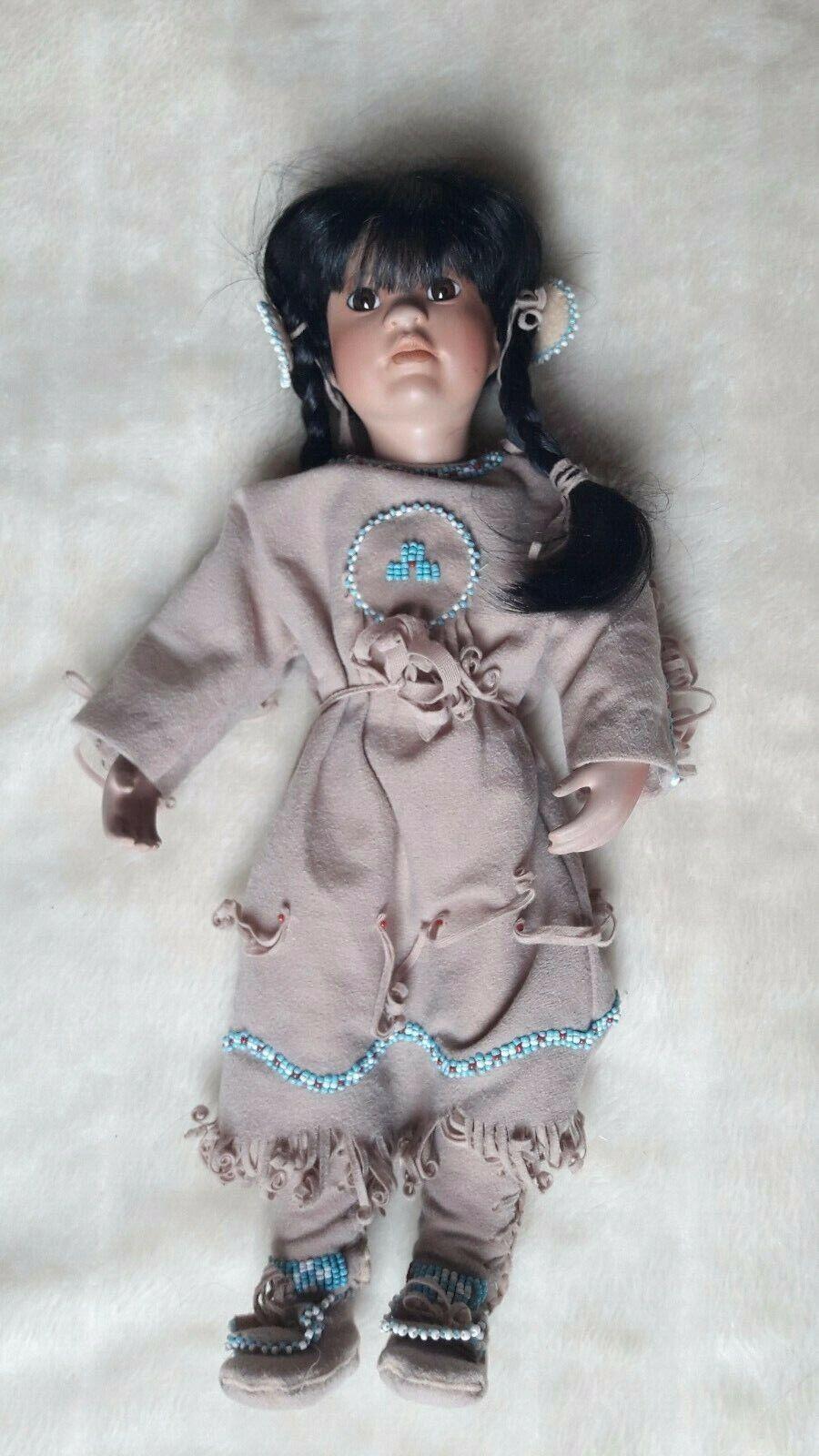 1991 Linda Mason Many Stars American Indian Doll Doll Doll Porzellan Sammerpuppe 35 cm 53ed51