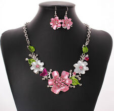 Fashion Party Charm Enamel Leaf Flower Rhinestone Choker Necklace Earring Set