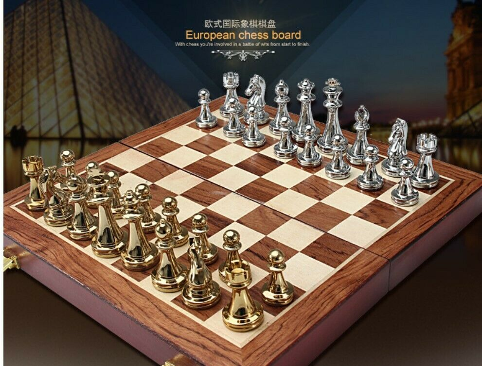 Wooden Chess Set 2 in 1 - Hand Crafted Folding Board and Pieces - Great Gift