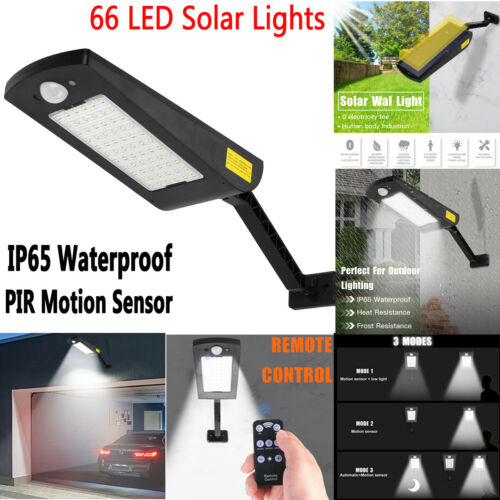 66 LED Solar Lights Outdoor Waterproof PIR Motion Sensor Garden Yard Wall Lamp