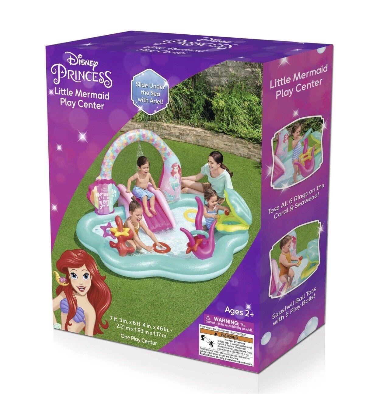 Disney Princess Little Mermaid Play Center Inflatable Kids Swimming Pool & Slide