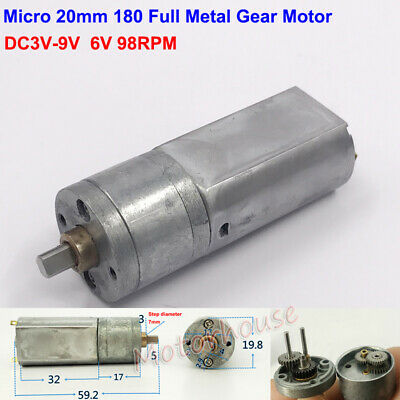 DC 6V~12V 103RPM Long Shaft Mini 180 Metal Gear Motor Planetary Box Slow Speed