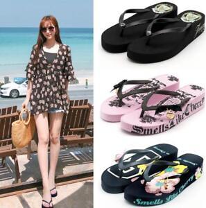 buy popular d282d c2298 Details zu Schick Strand Schuhe Damen Zehentrenner Slipper Wedge Freizeit  Sommer 4 Farbe