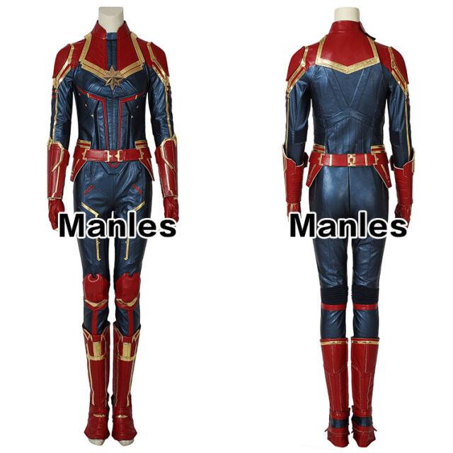 K824 Captain Marvel Endgame Costume Carol Danvers Superhero Avengers 4 Jumpsuit