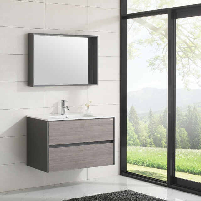 Wall Mounted Bathroom Vanities | Wall Mount Bathroom Vanity Wood Cabinet Set Undermount Resin Sink 24 Or 36 New