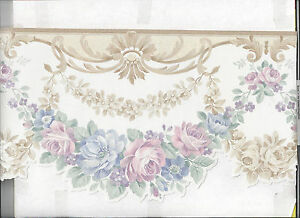 Image Is Loading WALLPAPER BORDER SATIN LOOK VICTORIAN FLORAL DIE CUT