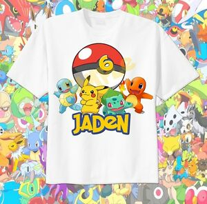 67c41959 Image is loading Pokemon-POKEBALL-Custom-t-shirt-Personalize-Birthday -squirtle-
