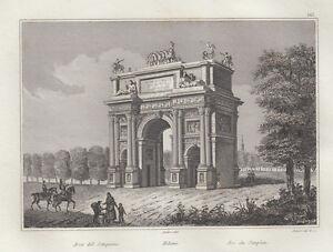 Brillant Milano, Arco Del Sempione, 1834-1837 Bulino MatéRiaux Soigneusement SéLectionnéS