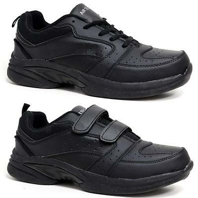 mens new casual leather wide fit walking running gym
