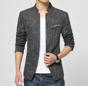 Mens stand collar formal blazer jacket slim fit cotton waist length fashion New