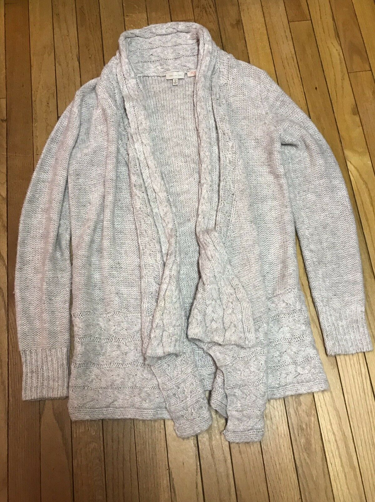 The Limited M L Tunic Wool Blend Beige Cardigan Sweater Very Soft TALL EUC