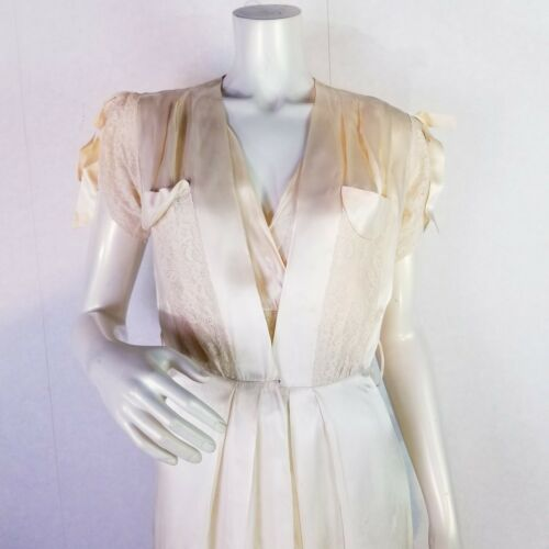 Vintage 30s 40s Ivory Satin Long Nightgown & Robe