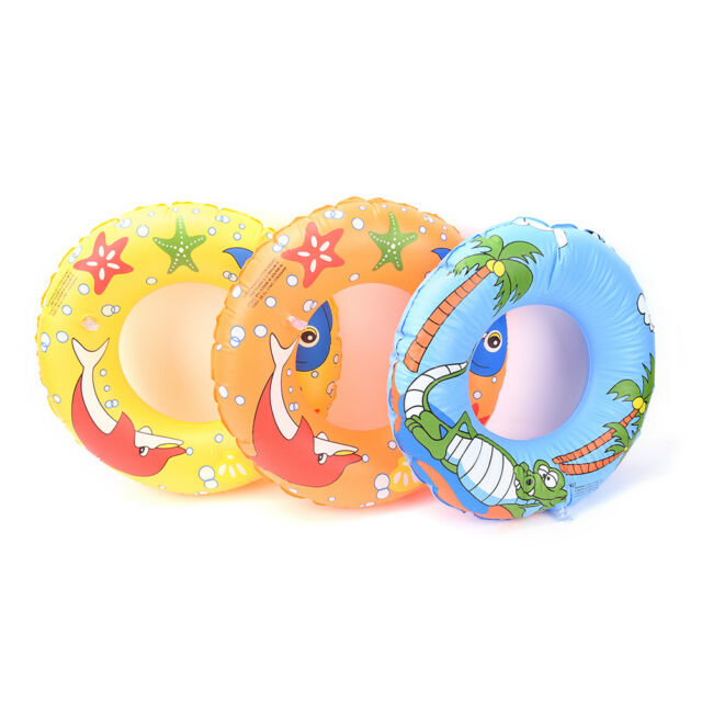 50cm Kids PVC Cartoon Printing Inflatable Float Swimming Ring Color Random LJ