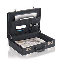 Leather Like Briefcase Attache Bag Business Portfolio Men Handbag Hard Case Lock