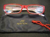 Jm York Reading Glasses +2.00 Ruby Red Jewel-tone Spring Hinged Joy Mangano