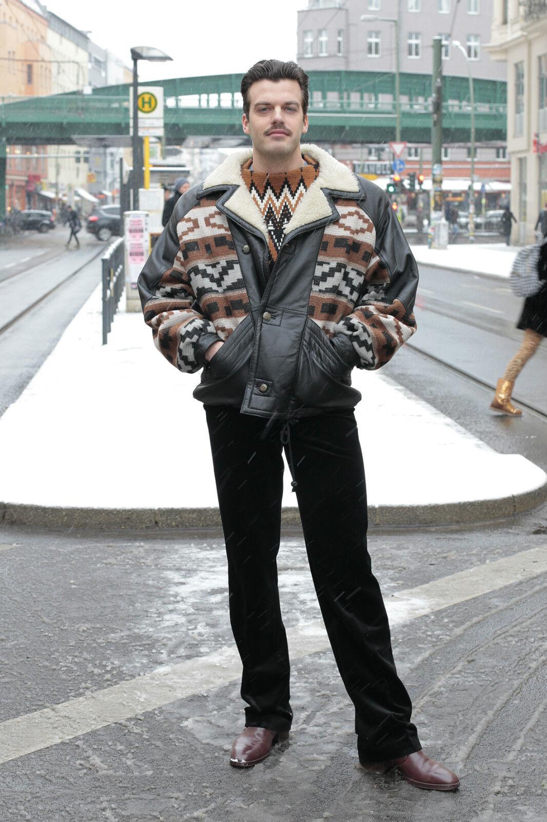 VEB Uomo Abbigliamento Dresda velluto DDR Pantaloni Pants Nero 60er True Vintage 60´s