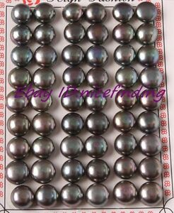 Image Is Loading 27 Pairs Black Freshwater Pearl Flat Back Half