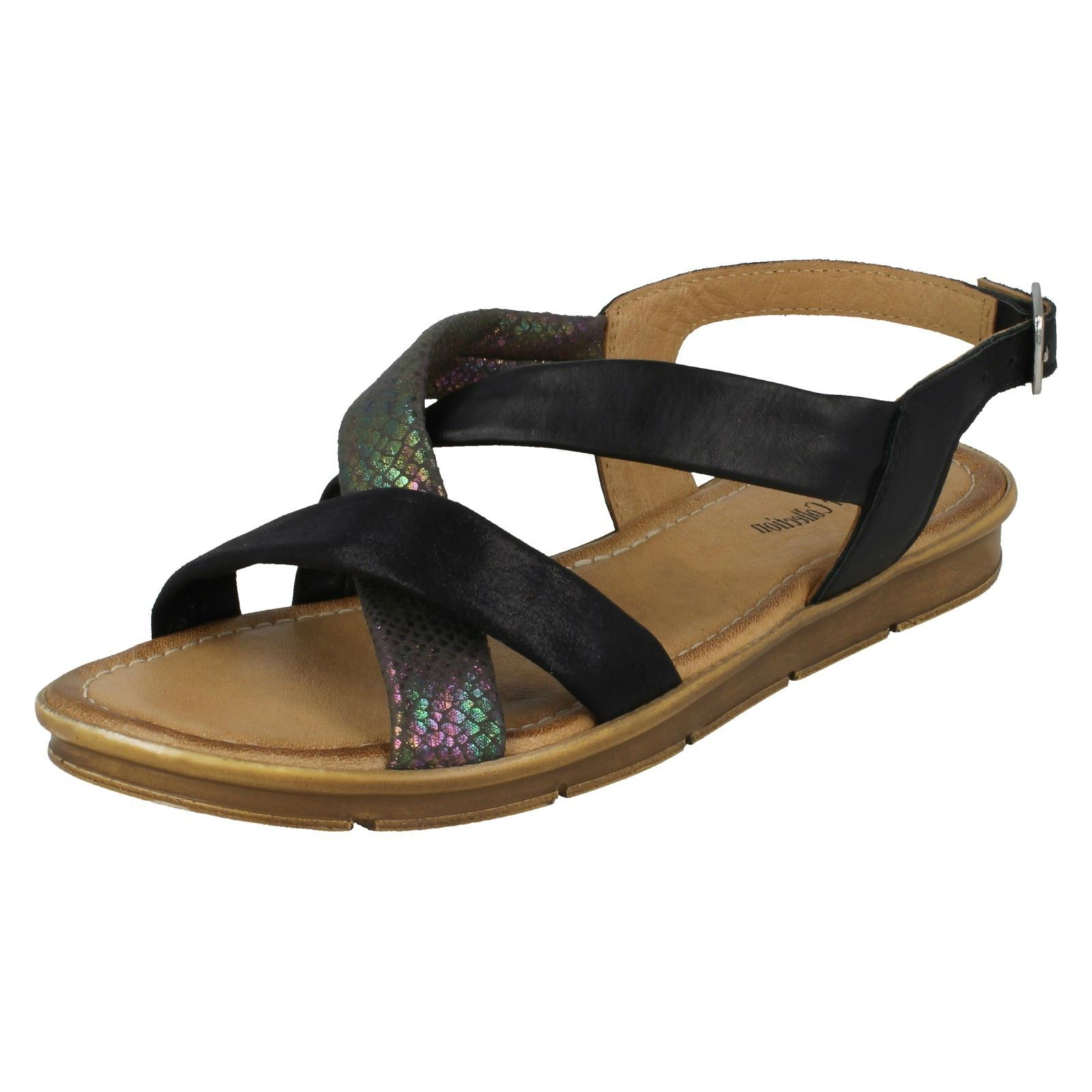 LEATHER COLLECTION F0R0035 Ladies Leather and Textile Strappy Flat Sandal