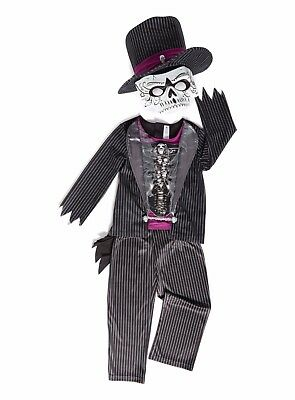Skeleton Tuxedo Outfit Set with Hat and Mask Black