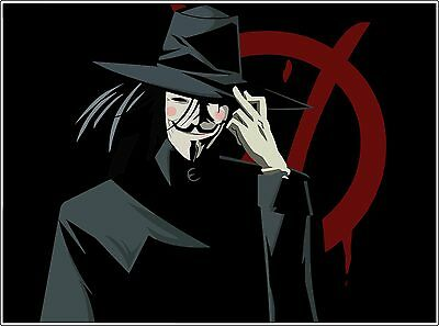 glass, bumper, phone V for Vendetta Movie Anonymous Guy Fawkes Vinyl Sticker
