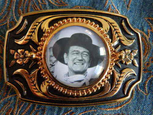 NEW HANDCRAFTED JOHN WAYNE GOLD METAL BELT BUCKLE WESTERN,COWBOY THE DUKE