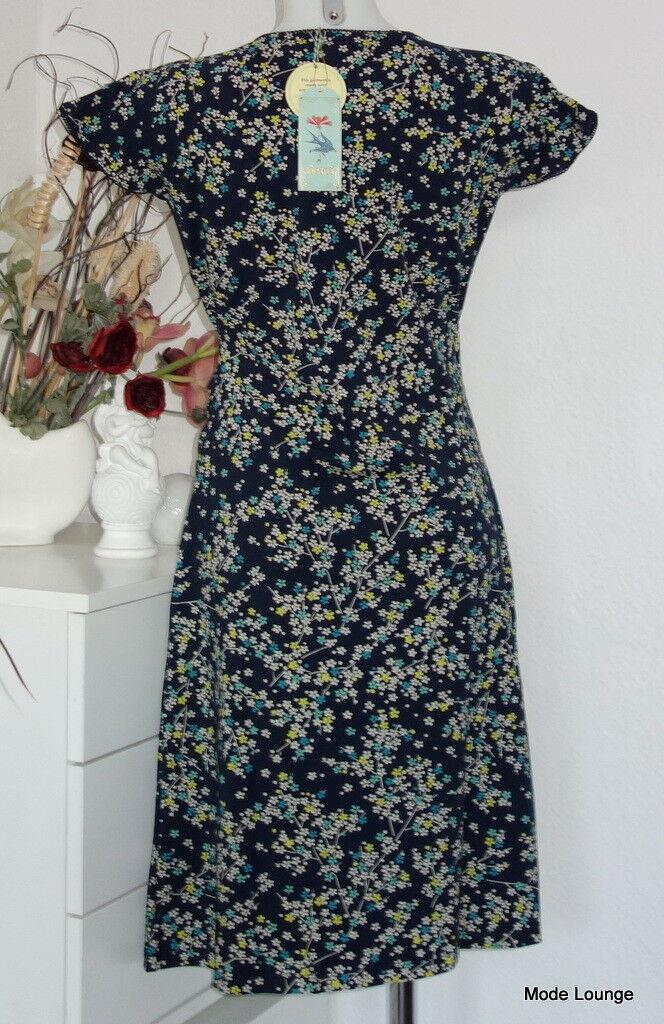 King Louie Kleid organische Baumwolle Dress Francipani Blau Blau Blau Blaumen Flowers 02765 | Neuartiges Design  | Erste in seiner Klasse  162017
