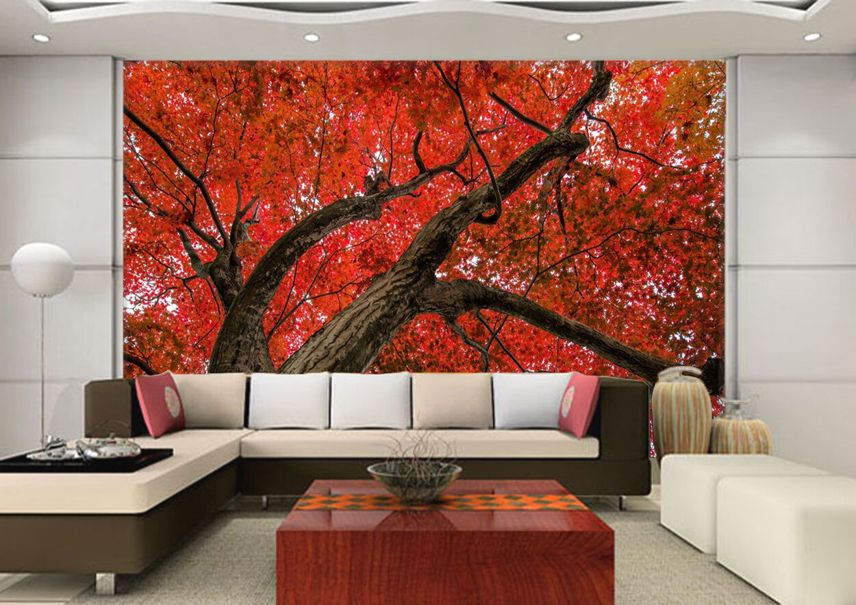 3D rot Tree Leaves 34 Wall Paper Wall Print Decal Wall Deco Indoor AJ Wall Paper