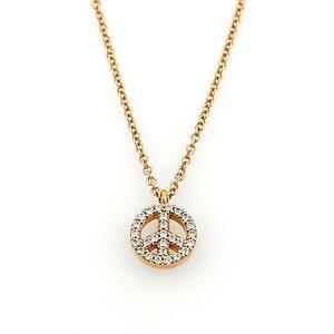 Tiffany Co METRO Diamond 18k Rose Gold Peace Sign Pendant